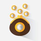 Handväska med euro Royaltyfri Foto