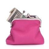 Handväska med hundra dollarsedel arkivfoton