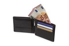 Handväska med nya 10 euroräkningar Royaltyfria Bilder