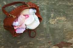 Handväska med objekt som att bry sig för barn arkivbilder