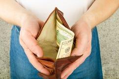 Handväska med pengar Royaltyfri Bild
