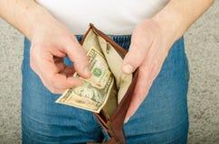 Handväska med pengar Royaltyfria Foton
