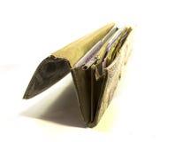 Handväska med sedeln och kortet Arkivbild