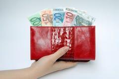 Handväska med sedlar i hand Royaltyfria Bilder