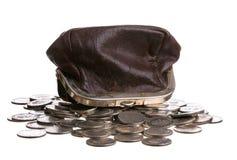 Handväska och mynt Royaltyfri Fotografi