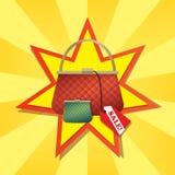 Handväska och plånbok med stjärnabakgrund Royaltyfria Bilder