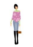 handväska som rymmer den slitage kvinnan för purpur scarf ung Fotografering för Bildbyråer