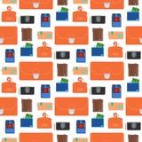 Handväskaplånbok med för modellbakgrund för pengar påsen för betalning för sömlös för shopping affär för köp den finansiella och  stock illustrationer