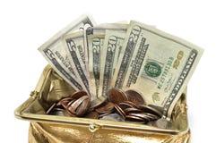 Handväskaslut för guld- mynt upp med pengar Arkivfoton