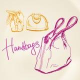handväskor skissar vektorn royaltyfri illustrationer