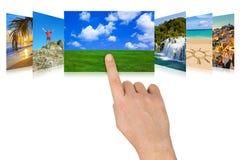 Handverschieben der bildschirmanzeigenatur- und -reisenfotographie Stockfoto