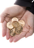 Handvol Gouden Muntstukken Kruggerand Stock Foto