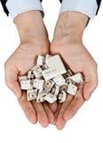 Handvol sleutels op het toetsenbord Stock Foto's