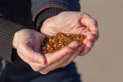 Handvol van amber Stock Foto's