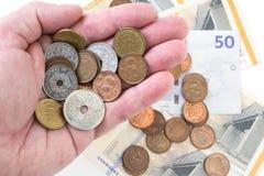 Handvol van Deens geld Royalty-vrije Stock Foto's