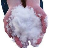 handvol van sneeuw Stock Afbeeldingen