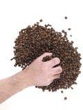Handvoll Kaffeebohnen Stockfotos