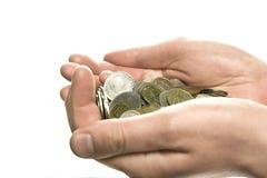 Handvoll Münzen Lizenzfreie Stockfotos