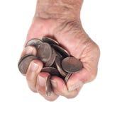 Handvoll Münzen Stockfotografie