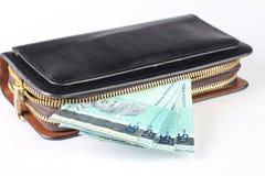 Handväska med pengar Arkivbild
