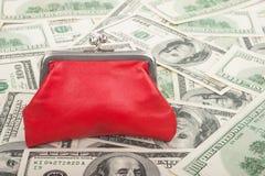 Handväska och dollar Arkivfoton