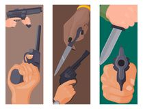 Handvuren met van de de beschermingsmunitie van kanonkaarten van de de misdaadmilitaire politie de vector van het vuurwapenhanden Stock Afbeeldingen