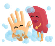 Handwash. Glad to wash hands with soap vector illustration