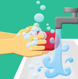 Handwash. Wash hands using soap and rinse with running water stock illustration