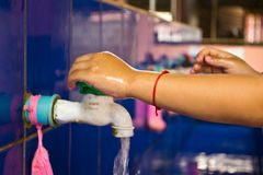 Handwashing, Teachers that schools are teaching children to wash Stock Image