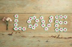 Handwerk der Papierblume setzte einen Buchstaben des Liebeswortes auf Holzfußboden Stockfotos