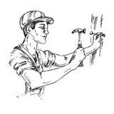 Handwerker in einem Sturzhelm verstopft einen Nagel, Handgezogenes Entwurfsgekritzel, Skizze vektor abbildung