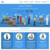 Handwerker Flat One Page Lizenzfreie Stockbilder