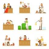 Handwerker-Kunstfertigkeits-Meister, erwachsene Leute und Handwerks-Hobbys und Berufe eingestellt von den Vektor-Illustrationen lizenzfreie abbildung