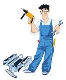 Handwerker mit Werkzeugkasten lizenzfreie abbildung