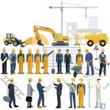 Handwerker und Architekt, Arbeitskraft im Arbeitsprozess lizenzfreie abbildung