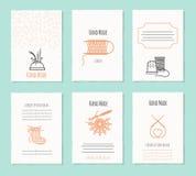 Handwerkhand - gemaakte kaartmalplaatjes vector illustratie