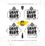 Handwerks-Bier-Brauerei-Handwerker-kreatives Vektor-Stempel-Zeichen-Konzept Raue handgemachte Alkohol-Fahne Menü-Seiten-Gestaltun lizenzfreie abbildung
