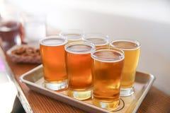 Handwerks-Bier-Probieren-Flug stockbilder