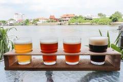Handwerks-Biere in einem Flug Stockbilder