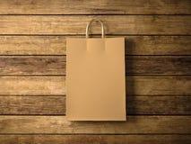Handwerkseinkaufstasche auf dem hölzernen Hintergrund Im Fokus horizontal 3d übertragen Stockfotos