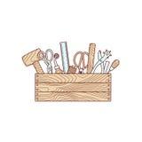 Handwerkswerkzeuge in der Werkzeugkastenvektorillustration Lizenzfreie Stockfotos
