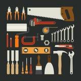 Handwerkzeug-Ikonensatz, flaches Design Stockfotografie