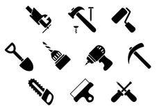 Handwerkzeug- und -instrumentikonen Stockfotos