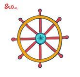 Handwheel ή τιμόνι Σύμβολο μιας εξόρμησης κρουαζιέρας Θαλάσσια απεικόνιση απεικόνιση αποθεμάτων