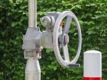 Handwheel μπροστά από πράσινο leaves_near Στοκ Εικόνες