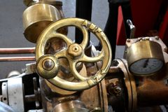 Handwheel A Historic Fire Engine Royalty Free Stock Photos
