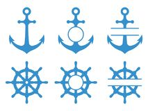 Handwheel and anchor icons. Sea ship. Vector monograms set isolated. On white background stock illustration