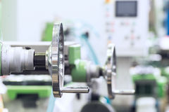 Handwheel for control of the milling machine. Royalty Free Stock Photography