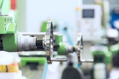 Handwheel for control of the milling machine. Royalty Free Stock Image