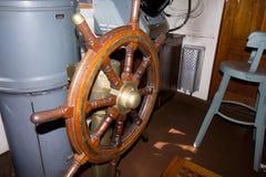 Handwheel of the icebreaker Tarmo. Kotka, Finland 16.07.2017. Royalty Free Stock Photography
